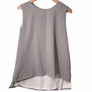 Philosophy Sleeveless Blouse Gray and White